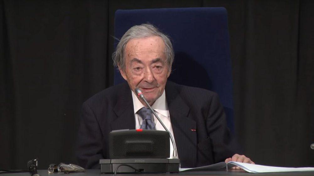 George Steiner durante una conferencia en The Nexus Institute (Países Bajos), 2013 (Foto: The Nexus Institute)